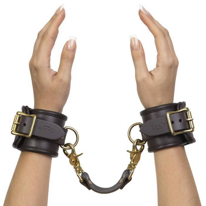 Coco de Mer Brown Leather Wrist Cuffs L/XL