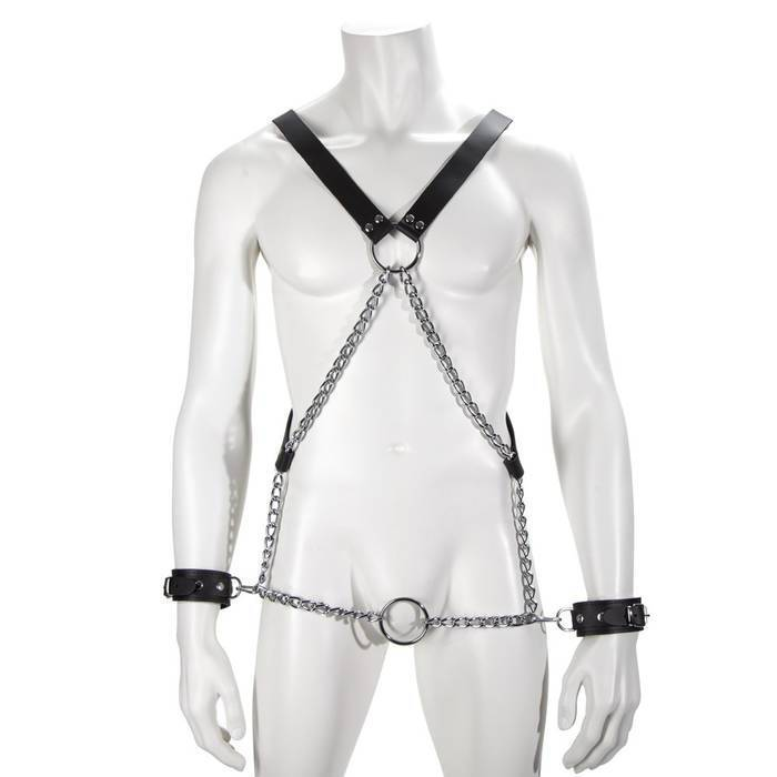 DOMINIX Deluxe Leather and Chain Harness with Cock Ring and Cuffs