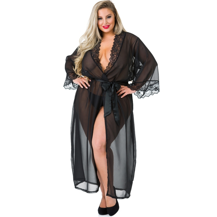 Lovehoney Plus Size Barely There Long Sheer Black Robe