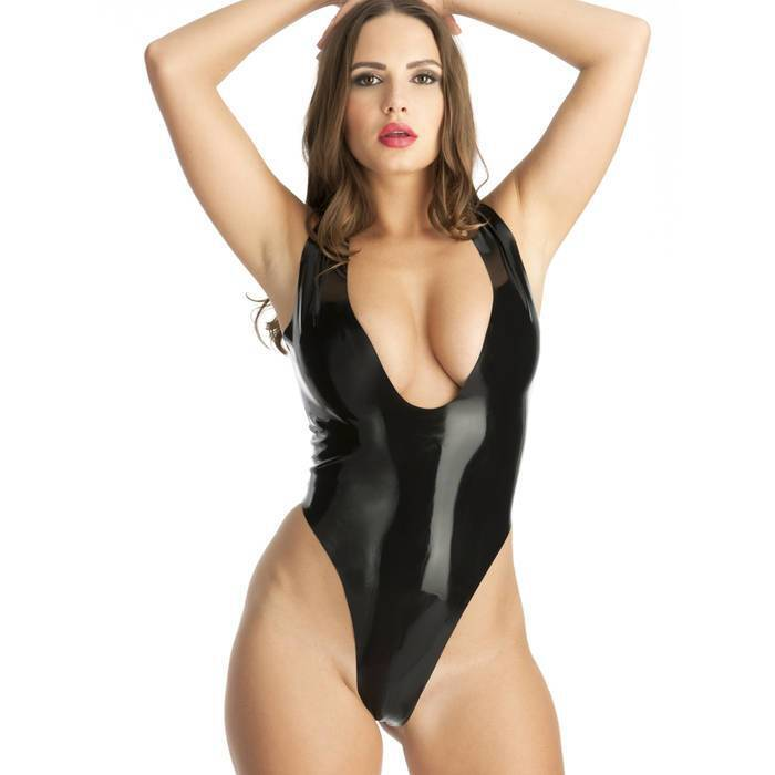 Rubber Girl Plunge Neck Crotchless Latex Body