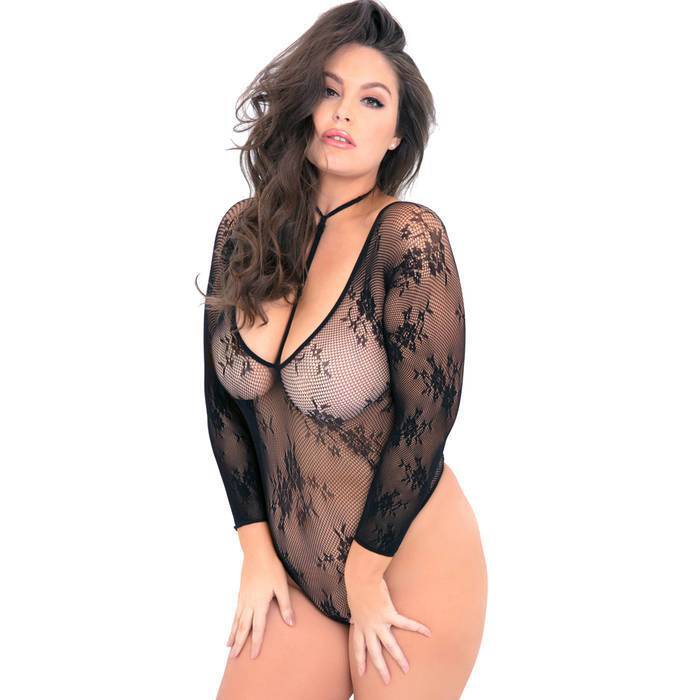 Rene Rofe Plus Size Black Floral Fishnet Harness Body