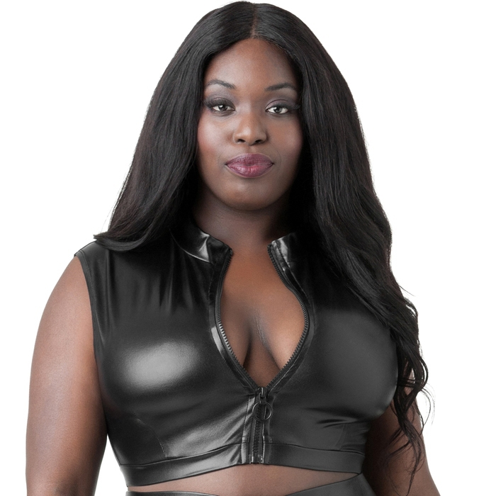 Lovehoney Plus Size Fierce Black Wet Look Zip-Up Crop Top