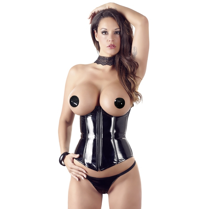 Black Level PVC Underbust Corset and G-String