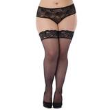 Lovehoney Plus Size Sheer Black Lace Top Hold-Ups