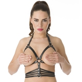 DOMINIX Deluxe Leather Open Cup Harness Bra