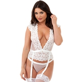 Lovehoney Celeste White Lace Bustier Set