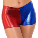 Fever Red and Blue Harlequin Metallic Hot Pants